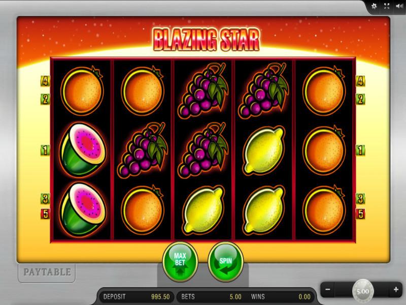 Klassischer Blazing Star Online Slot : Früchte und Mindestboni